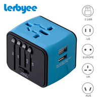 LERBYEE Universal Travel Adapter Electric Plugs Sockets Converter US AU UK EU With Dual USB Charging