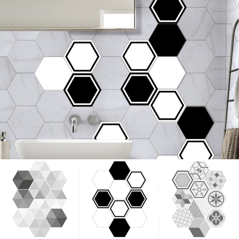 10pcs Lot Geometric Hexagonal Tile Sticker Waterproof Backsplash Easy To Remove Non Slip Wall For Kitchen Bat Home