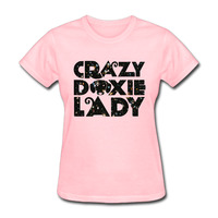 Women Crazy Doxie Lady funny Funny short sleeve Tshirts printed Pink