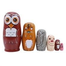 6 stücke Eule Russische Matryoshka Puppen Handgemachte Holz Linde Nesting Dolls Set Matryoshka Puppen Spielzeug Home Decor Spielzeug