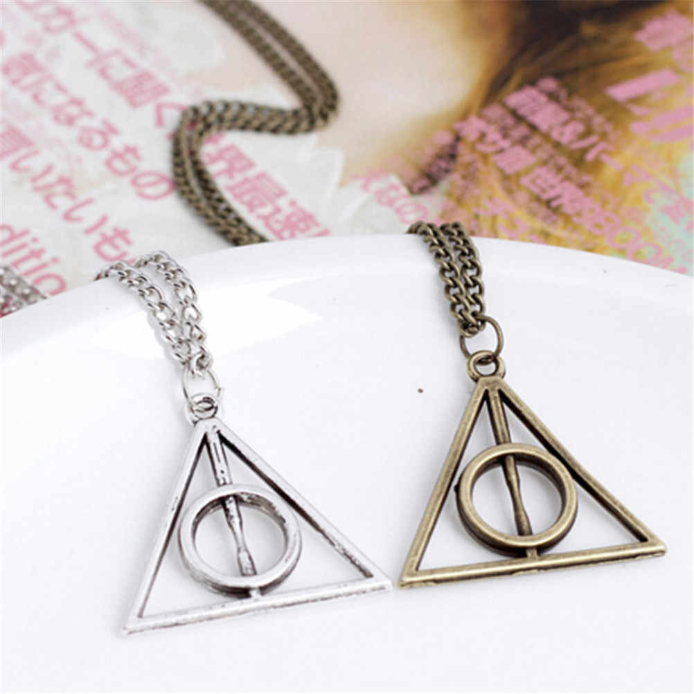 Hallows Pendant Toys Necklace Retro Triangle Round Sweater Chain Necklace Action Toy Figures
