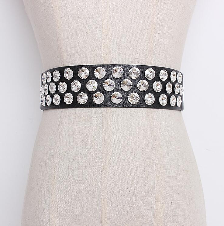 Women's Runway Fashion Diamonds Pearl Pu Leather Cummerbunds Female Dress Corsets Waistband Belts Decoration Wide Belt R1648