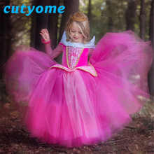Kids Girls Xmas Costumes Party Dresses Toddler Fancy Princess Aurora Dress Halloween Rapunzel Children TUTU Maxi Dress Clothing