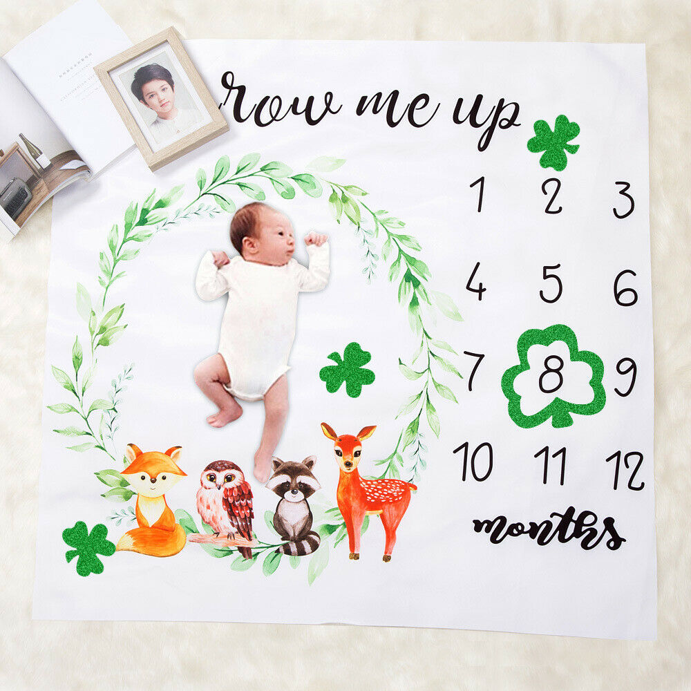 US Newborn Baby Infants Milestone Blanket Photography Prop Monthly Growth Photo