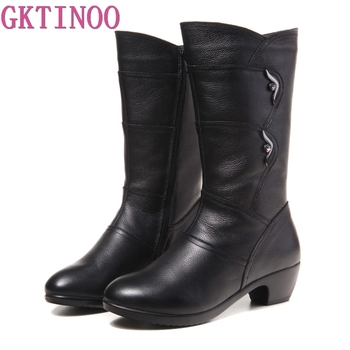 GKTINOO Winter Fur Women's Boots Warm Genuine Leather Snow Boots Female Rubber Soles Mid-Calf Fashion High Heels Shoes Woman