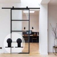 LWZH классический стиль 10FT 11FT 12FT 12.6FT для деревянных раздвижных дверей сарая стальной аппаратный комплект черный Т образный вешалки для одной