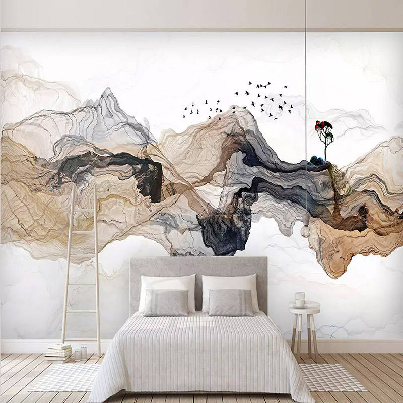 Photo Wallpaper New Chinese Style Abstract Ink Landscape Murals Living Room Bedroom Background Wall Painting 3 D Papel De Parede