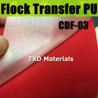 CDF 03 Red Hot selling transfer flock heat transfer film Flock Vinyl for Transfer with size:50X100CM/Lot