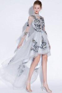 Image 4 - Fariy hafty sukienki koktajlowe z krótszym przodem długie plecy 2019 elegancka linia okazje Party suknie wieczorowe sukienka na studniówkę