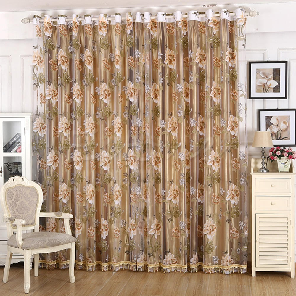 Peony Floral Design Rustic Curtain Window Screening Balckout Room Tulle Curtain