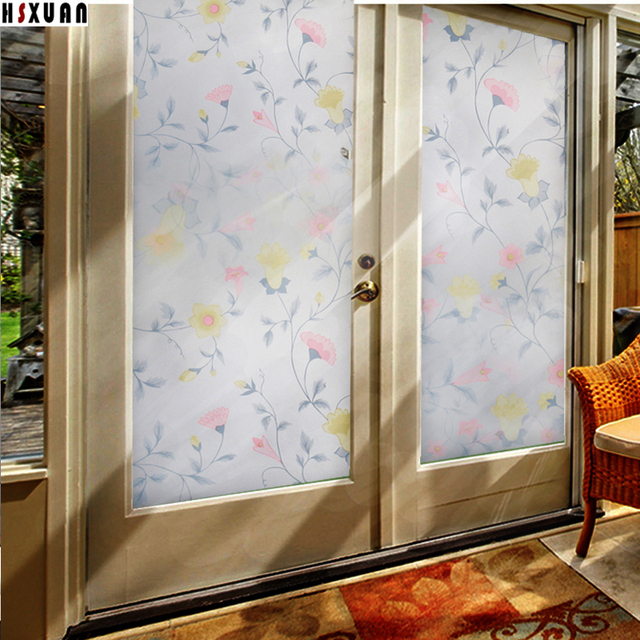 The Sunscreen Film For Windows 70X100cm Floral Self Adhesive Tint Sliding  Glass Door Window Privacy