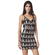 2017 Summer Dress Women Sexy Club Party Dress Deep V-neck Sequin Fashion Slim Short Bandage Dresses Vestidos Plus Size XXL