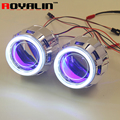 ROYALIN 2.5 HID Bi Xenon H1 Projector Headlight Lens LHD RHD w/ 70mm COB Angel Eyes white Blue Red Devil Eyes for H4 H7 Car DIY