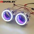 ROYALIN 2.5 HID Bi Xenon Lente Del Proyector Del Faro H1 LHD RHD w/70mm COB Angel Eyes white Blue Red Devil Eyes para H4 H7 Del Coche DIY