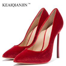 KEAIQIANJIN Wedding Woman High Heels Shoes Red Heel Shoes Women's Fashion Sexy Plus Size Pointed Toe Pumps Party Stiletto Party cocoafoal woman silver high heels shoes stiletto plus size 33 43 44 wedding silver gold pumps pointed toe sexy valentine shoes