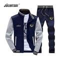 Jolintsai zipper jaqueta + calça polo suor terno 2017 homens terno hoodies sweatershirts sportwear treino dos homens conjunto camisola dos homens