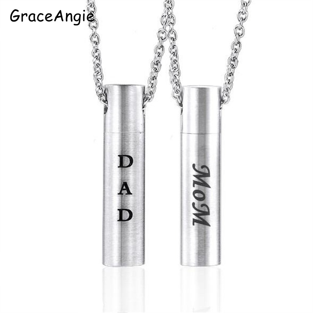 Stainless Steel Ashes Pendant Necklace With Letter Dad Mum Cremation Jewelry Keepsake Urn Necklace Memorial Ashes Pendant Gifts Chain Necklaces Aliexpress