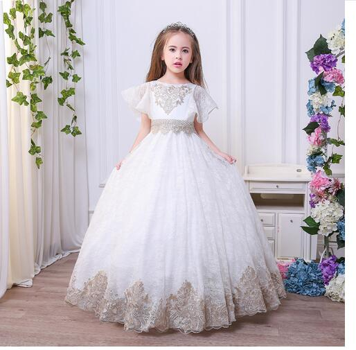 Girl's Long Formal Dress 2017 Flare Sleeve Girls Princess Dresses Embroideried Kids Party tutu Ball Gowns Children's Dancewear long sleeve flare choker dress