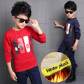 2016 autumn and winter new children's clothing Korean boys sweater,  velvet bottoming boys long T-shirt  4T-12T