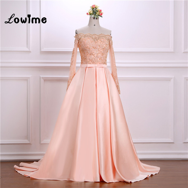 Pink Puffy Evening Dresses Boat Neck Lace Appliqued Long Prom ...