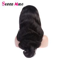 SUPER MILO Full Lace Human Hair Wigs For Black Women Top Brazilian Body Wave Wig 10 22 Natural Color Remy Hair Weave