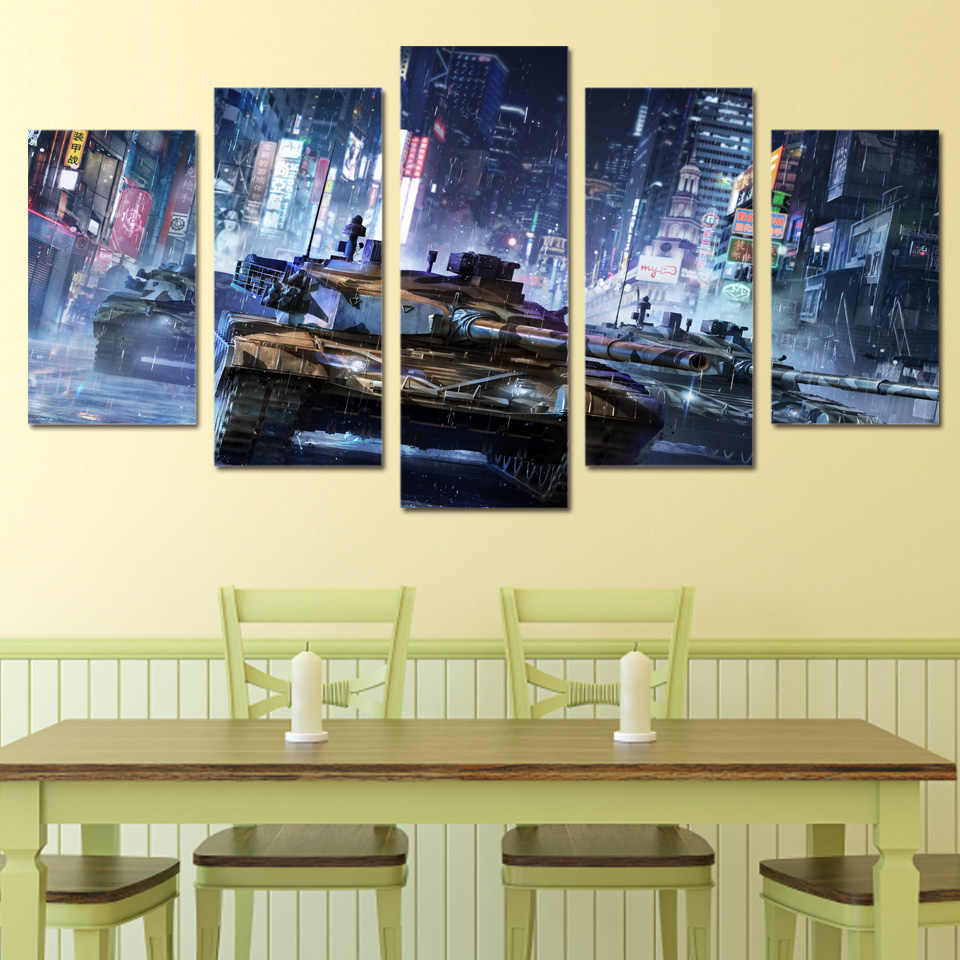 5 Piece Canvas Prints Wall Art Tanks Warfare Games Painting Picture ...