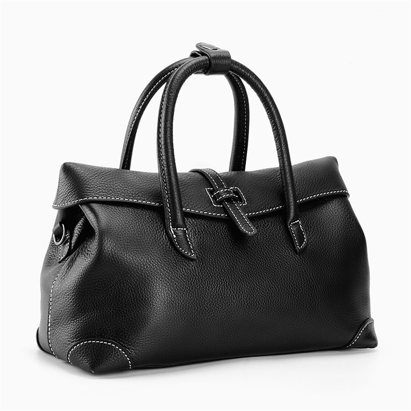BeDo Cow Leather Women Vintage Handbags Real Leather Simple Cover Vintage Handbags Black Purple Simple Women Bags