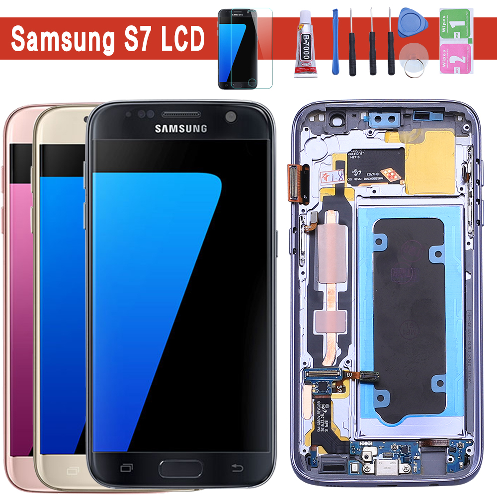 D'ORIGINE 5.1 ''ÉCRAN SUPER AMOLED pour SAMSUNG Galaxy S7 LCD G930 G930F Écran Tactile Numériseur avec Cadre Pièces De Rechange