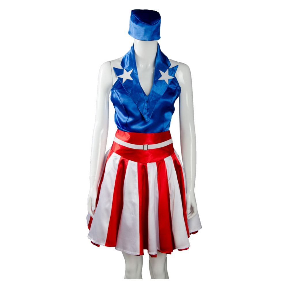 2017 New The Avengers Captain America Cheerleading Dress Halloween Cosplay Costume Suit For Adult Women Carnival Party Costumes