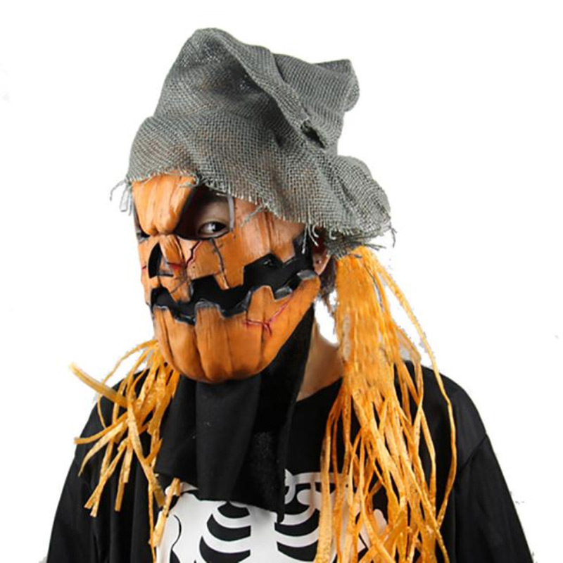 pumpkin scarecrow ghosts scary mask halloween creepy horror prank cosplay masquerade evil emoji party masks adult ghost mask - Halloween Scare Crow