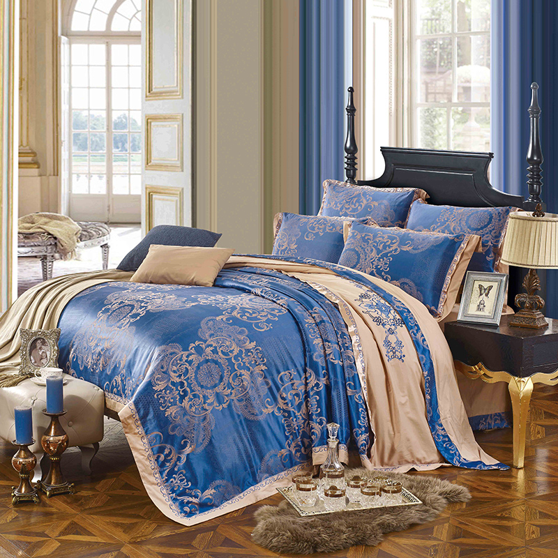 KELUO Wedding  Luxury Satin Jacquard Bedding sets  Queen King size Duvet cover Bed sheet Pillow Sham Lace Sapphire blueKELUO Wedding  Luxury Satin Jacquard Bedding sets  Queen King size Duvet cover Bed sheet Pillow Sham Lace Sapphire blue