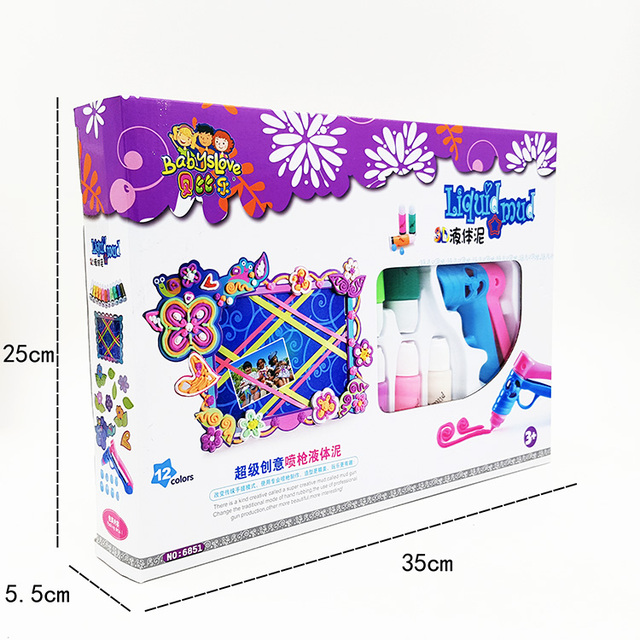 High Quality Chinese Version Play Doh Doh Vinci Playdough Draw toy.35cm with 12 liquid mud clay 8 design tip 3 paint model 1 gun