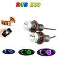Wi-fi RGB LEVOU Angel Eyes 12 V 24 W canbus LEVOU marcador de halo anel lâmpada para BMW E60 E61 E64 87X3 E53 E6 Erro Free car styling