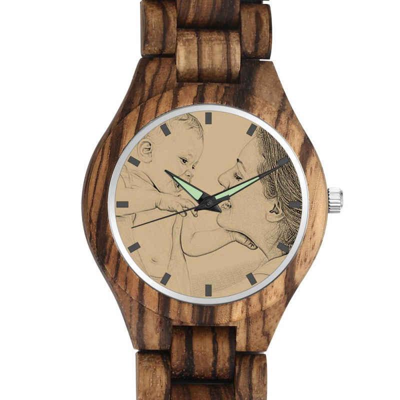 Reloj de foto de madera grabado para hombre, correa de madera, diseño personalizado, estampado bajo demanda, Shopify