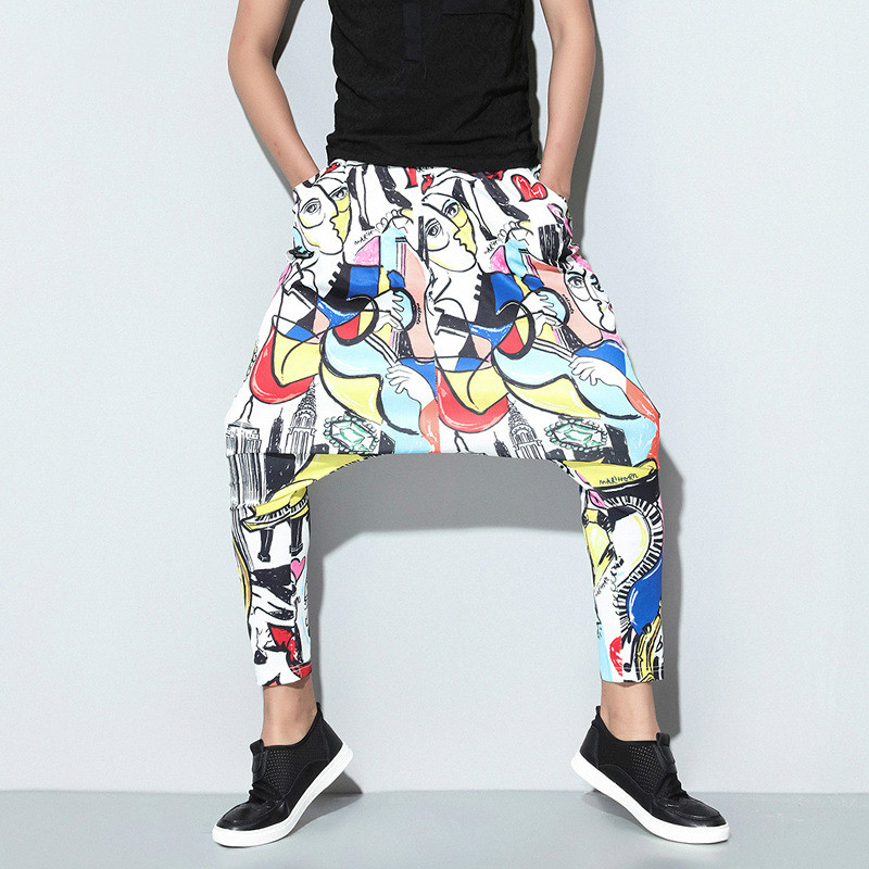 Casual Trousers Pencil-Pants Street-Wear Elastic-Waist Abstract Male Fashion Hip-Hop