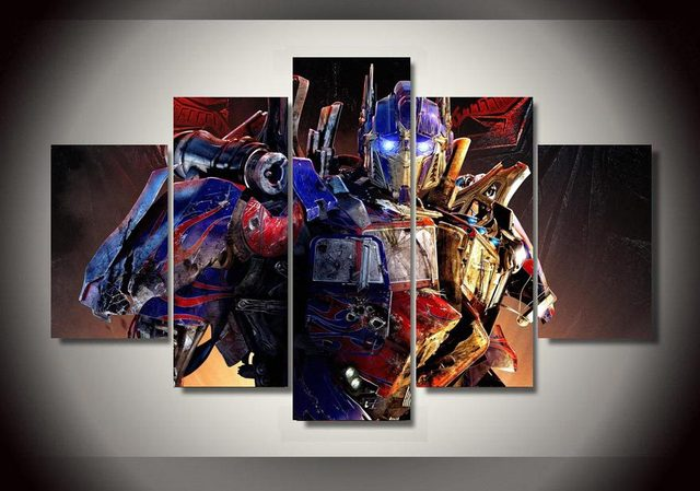 2016 Direct Selling Real Optimus Prime Transformers 5 Piece Painting Wall  Art Room Decor Print Picture