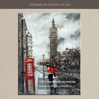 Hand Painted American Street Landscape Oil Painting on Canvas Telephone Booth Wall Painting Couple Red Umbrella Paintings Art
