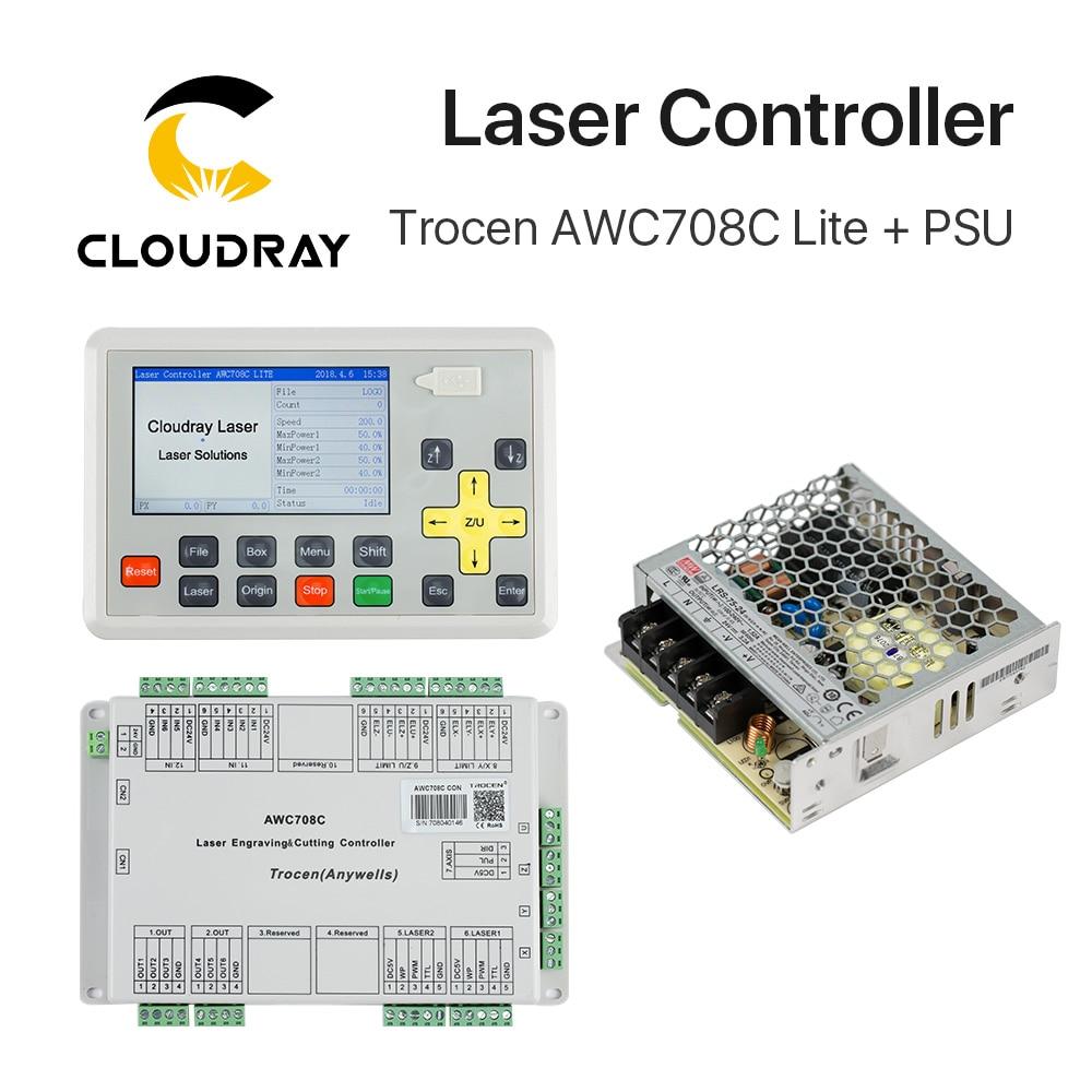 Cloudray Trocen de Gravure Anywells AWC708C Lite Co2 Laser Contrôleur Système + Meanwell 24 v 3.2A 75 w Alimentation à découpage