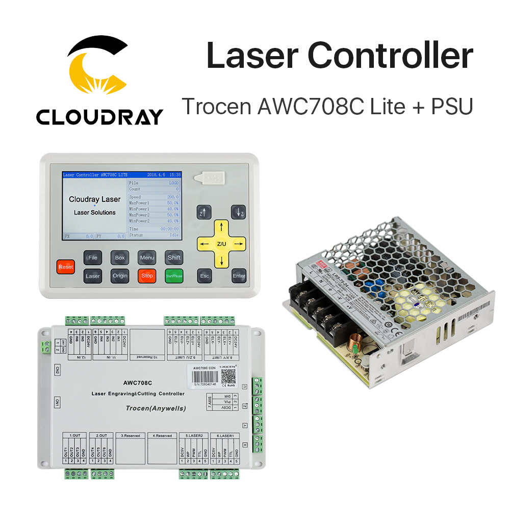 Cloudray trocen Anywells AWC708C Lite Co2 лазерный контроллер Системы + Meanwell 24 В 3.2A 75 Вт коммутации Питание