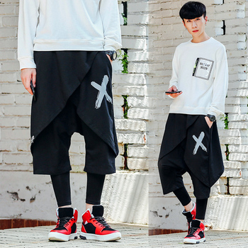 M-2XL!Fake two-piece pants Japanese street hip-hop personality trend autumn and winter models DJ nightclub leggings skirt pants.