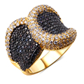 Nice Wedding rings gold plated Cubic zirconia black and white CZ Rings lastest designs new fashion jewelry Free shipping