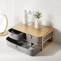 Multi layer Drawer Type Bamboo Wood Desktop Storage Box Office Waterproof Storage Drawers Multi layer Structure Home Storages