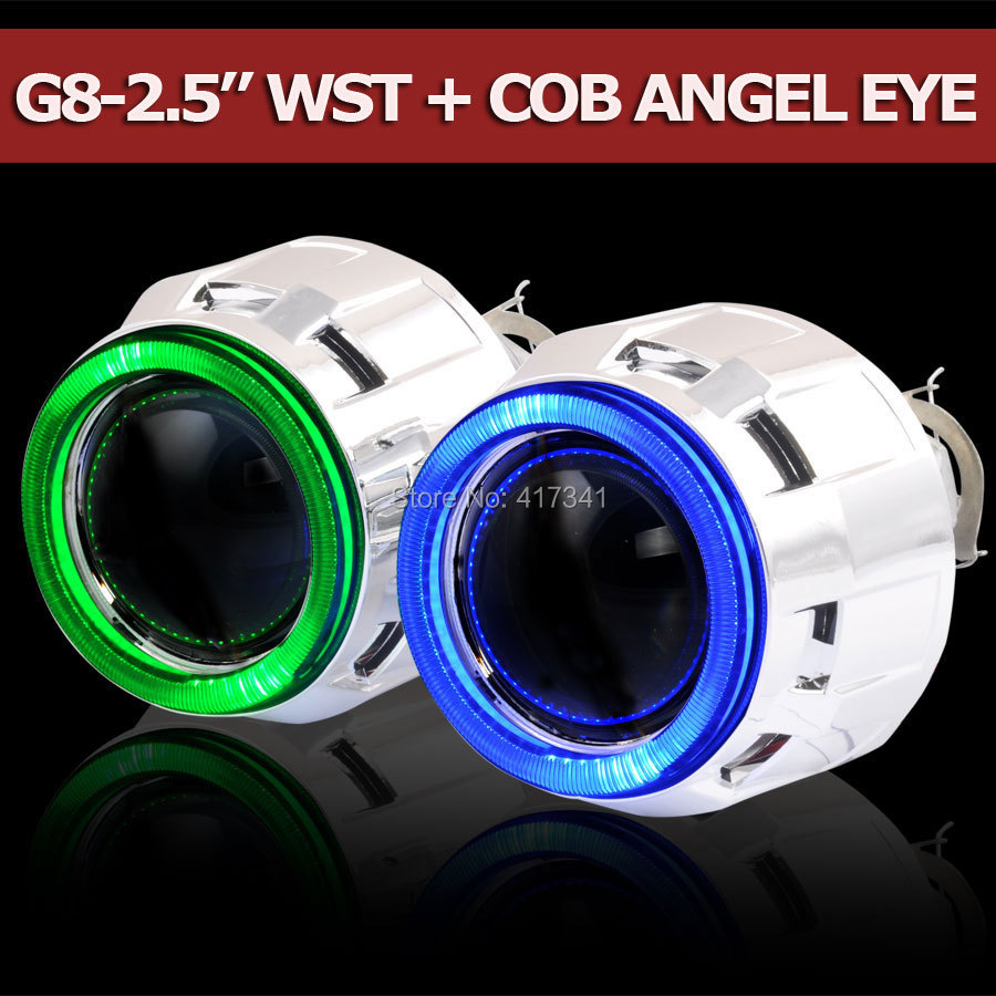 G8-COB 2.5 inches Mini HID Bi xenon Projector Lens with Super Bright COB Angel Eye Halo 2PCS for H4 H7 Car Headlight LHD/RHD ownsun innovative super cob fog light angel eye bumper cover for skoda fabia scout