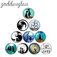 Модные красивые Мультяшные коты 10 шт 12 мм/18 мм/20 мм/25 мм круглые фото стеклянные кабошон демонстрационные с плоской задней частью
