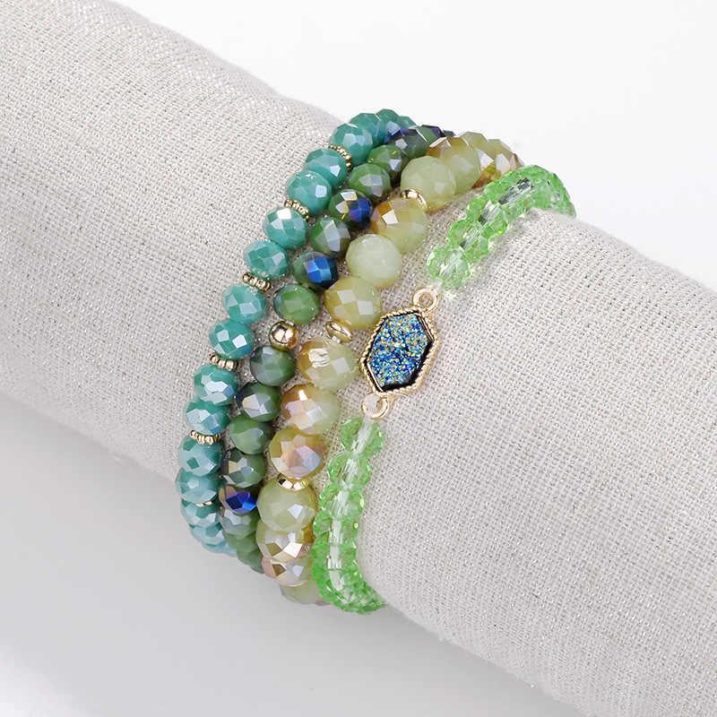 8mm Facettiert Halb-edelsteine Perlen Gestapelt Perlen ELASTISCHEN FADEN Einstellbar Armbänder für Frauen