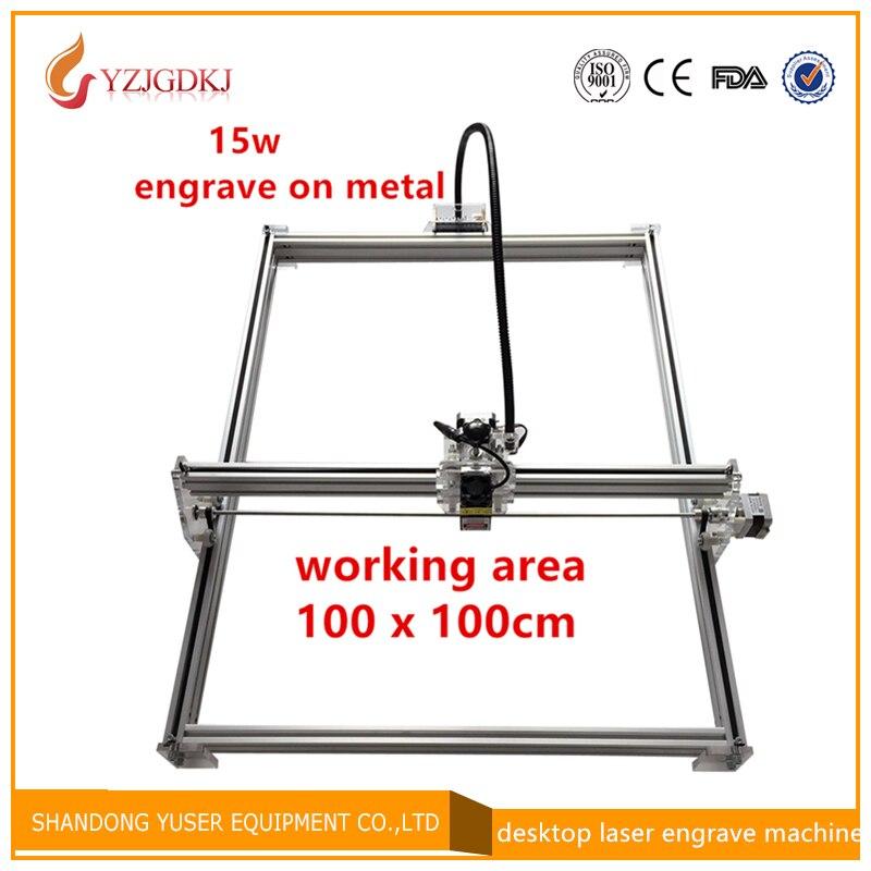 diy mini laser engraving machine ,15w laser cutter metal marking machine support english software work size 1*1m laser engraver цена