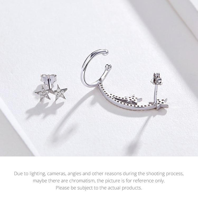 HTB1kYlYVYrpK1RjSZTEq6AWAVXa2 BAMOER Star Comet Asymmetry Stud Earrings for Women Clear CZ Bright Meteor Ear Stud 925 Sterling Silver Jewelry Femme BSE087