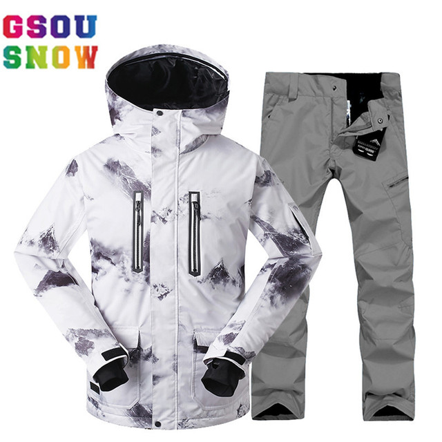 GSOU SNOW Mountain Skiing Suit Men Ski Snow Suit Winter Ski Jacket + Snowboard Pants Waterproof Windproof Snowboarding Suits XL