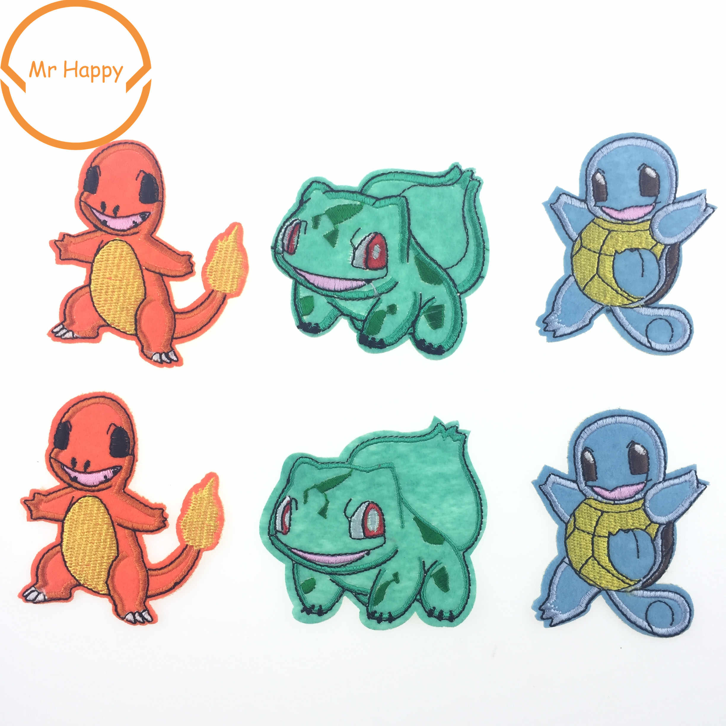 Pokemon Iron On Hand Patches Cartoon Fabric Sticker For Clothes bags Badge Embroidered Appliques DIY