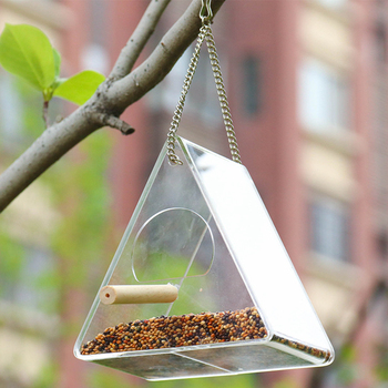 Bird Feeder Plastic Hanging Bird Food Container Transparent Outdoor Parrot Feeder Waterproof Bird Feeder Pet Supplies